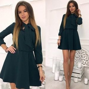 Green - Front Bow Mini Dress w/ 3 Qtr Sleeves